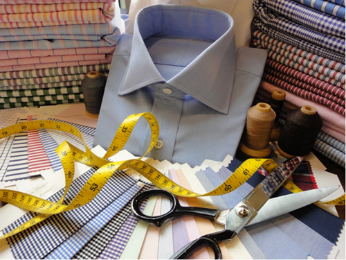 Dress shirt with tape measure
